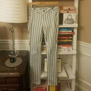 Tory Burch striped pencil leg jeans